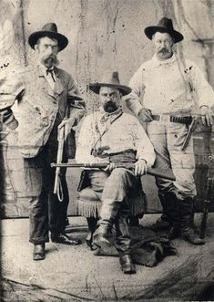 Three men of the Pinkerton Detective Agency, 1880. The man in the middle is William Pinkerton, son of Allan Pinkerton, one of the founders of the agency