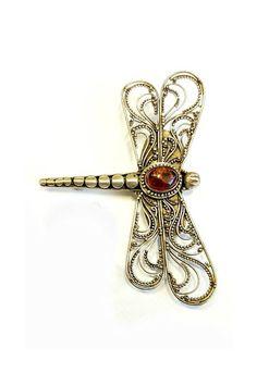 Vintage Sterling Amber Filigree Dragonfly Brooch Signed 925