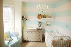 White Blue Nursery Wall Stripes