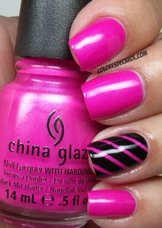 Hot pink & black stripe accent nail <3