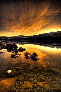 Kalum Lake Golden Winter Sunset-2 by Evan Spellman, via 500px