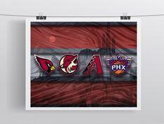 Phoenix Sports Poster, Phoenix Arizona Sports Artwork, AZ Cardinals, Coyotes, Suns D-Backs in front Desert, Arizona Man Cave
