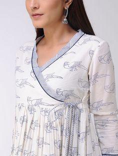 Ivory-Blue Block-printed Cotton Angrakha Kurta