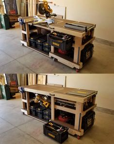 I built this convertible saw station/modular workbench. The miter saw rotates beneath the top surface to make room for the table saw out-feed and/or additional work space. Garage Workbench Plans, Table Saw Workbench, Mobile Workbench, Diy Workbench, Woodworking Bench Plans, Woodworking Projects Diy, Woodworking Shop, Woodworking Techniques, Workbench Organization