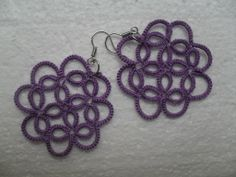 Boucles d'oreille en dentelle violet , bijoux dentelle frivolite, Boucles d'oreille dentelle violet : Boucles d'oreille par carmentatting