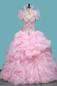 ff493ad53 2018 Vestidos de quinceañera de organza con vestido de bola Vestidos de  novia con cuentas de
