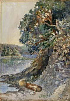Emily Carr Arbutus Tree c. 1909, Watercolour on paper,, 54.7 x 38 cm, 2005.025.001, Art Gallery of Greater Victoria, In memory of Jennet and Louise Davies, Edith and Oswald Parker and James R. Davies.