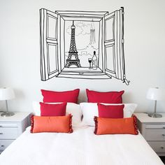 A vinyl wall decal that will make you feel as though you are in Paris, enjoying a nice bottle of wine while overlooking the Eiffel Tower. Decorative vinyl. Comes in 2 sizes: - 58 x 65 cm - 110 x 131 cm Please allow 3-7 days for delivery.