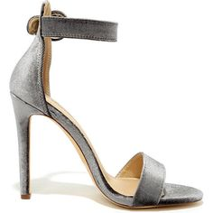 Elias Grey Velvet Ankle Strap Heels ($27) ❤ liked on Polyvore featuring shoes, pumps, ankle wrap shoes, ankle strap pumps, wide width pumps, wide ankle strap shoes and wide fit shoes