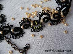 Supełkologia: tatting Tatting Bracelet, Tatting Jewelry, Needle Tatting, Tatting Lace, Tatting Patterns, Earring Set, Chokers, Jewelry Design, Beaded Necklace