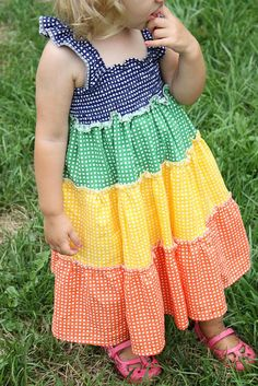 rainbow dress by madebyrae. Awesome tutorial on site, plus downloadable (printable) tute for very cheap to support her work. She has awesome patterns for sale too.