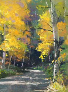 Aspen Road | Oil Painting of a road traveling through a forest of trees with yellow leaves.