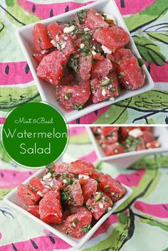 A gluten free recipe for watermelon salad with mint, basil and feta.