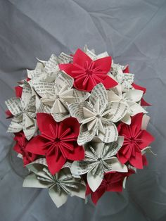 Book Paper Flower Bouquet - Red Flowers with White Book Paper Flowers - Origami - Kusudama.