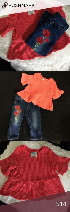 Baby girl genuine kids bundle Excellent used condition - two 18 mo tops that coordinate with jeans with Rose detail. Both tops have cute bell sleeve detail. Jeans 12 month size. Tops run a tad small. So adorable for baby girl! 🌹 Genuine Kids by OshKosh Matching Sets