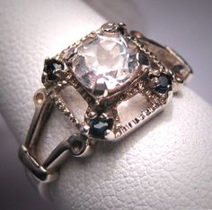 Vintage White Sapphire Wedding Ring Estate by AawsombleiJewelry, $695.00