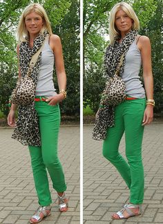 Leopard scarf and green skinnies - st.not the bag tho Green Jeans Outfit, Green Skinnies, Jeans Outfit Summer, Green Pants, Leopard Print Outfits, Leopard Scarf, Leopard Purse, Casual Outfits, Cute Outfits