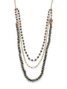 Nest Beaded Pyrite Lariat Necklace X064bfqzXB