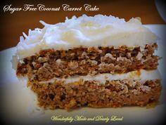Sugar Free Coconut Carrot Cake, Cut