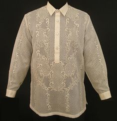 Just like there are many variations for other types of garments, the Barong Tagalog comes in different types of fabrics such as the Organza, Jusi, Pina, and others. Visit Barongs R Us to seek variety of Barong Tagalog like Pina Barong Tagalog and Gay Men Weddings, Barong Tagalog, Filipiniana Dress, Philippines Fashion, Bespoke Shirts, Mens Kurta Designs, Line Shopping, Traditional Dresses, Weaving