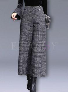 Fashion Plaid High Waist Woollen Wide Leg Pants