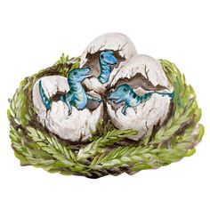 """These dinosaur babies are anything but fierce as they hatch from their eggs. Is their nest safe from predators? Is there a T-Rex lurking nearby? Your child is sure to hatch adventure after adventure with this nest of fun. Great alone or with the Dinosaurs decal set. Finished Size: 16.75"""" x 12.5"""". Care: Wipe with Damp Cloth Assembly Required."""