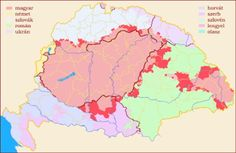 The shrinking of the Hungarian linguistic area between Light red - Hungarian majority in 1990 Dark red - Hungarian majority in 1910 Light blue - Slovaks Light purple- Rusyns/Ukrainians Dark. Old World Maps, Alternate History, Folk Music, Historical Maps, Cartography, Planer, Language, Diagram, Germany