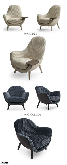 MAD KING & MAD QUEEN upholstered fabric armchairs (finishing: Gibson White & Night colours). Poliform | Design by Marcel Wanders
