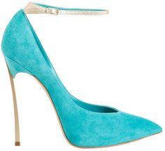 0f256c112 Casadei Ankle-Strap Blade Pump - Buy Online - Designer Pumps Aqua Heels,  Gold