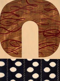 Crescent Ikat, 22X30 inches, Acrylic on paper. At Saltman Art Associates, Oak Park, CA. From www.kazaan.com.
