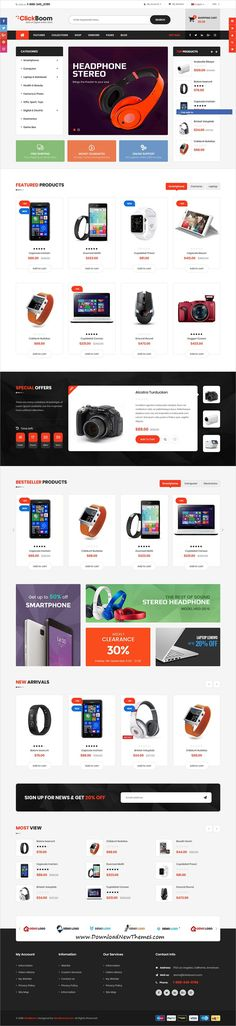 ClickBoom is clean and modern design 3+ responsive #Shopify theme for stunning #tech #store eCommerce website to download & live preview click on image or Visit #webdevelopment