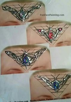 Crown bling Face Painting Designs, Paint Designs, Body Painting, Face Jewels, Henna Art, Costume Makeup, Gems Jewelry, Face And Body, Bling Bling