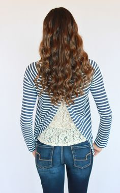 Navy Striped Knit Lace Top - Kevra Boutique*