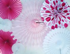 XL pink white paper rosettes, hot pink, light pink, white, polka dots, pinwheel backdrop, tissue paper fans by DellaCartaDecor on Etsy https://www.etsy.com/listing/186670594/xl-pink-white-paper-rosettes-hot-pink