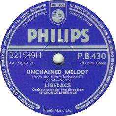 78 RPM - Liberace - Unchained Melody / The Bridges At Toko-Ri (Love Theme) - Philips - UK - P.B.430