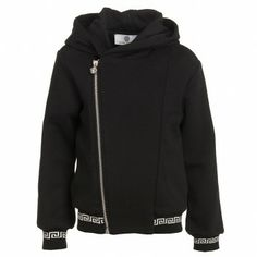 Young Versace Junior Boys Black Cotton Hooded Top at Childrensalon.com