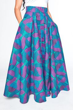 The Moselle Custom made high waisted floor length circle skirt with pockets Hand picked authentic African wax print fabric cotton Made in USA African Fashion Skirts, African Dresses For Women, African Print Fashion, African Attire, African Wear, Skirt Fashion, Fashion Outfits, Womens Fashion, African Print Skirt