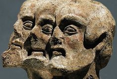 Three-headed Demon, from Etruscan culture, Terracotta fragment, from Orvieto, 5th century BCE - at the Antikensammlung, Berlin