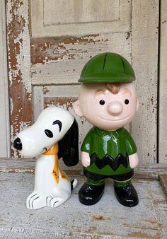 Charlie Brown and Snoopy ceramic figurines, vintage Charlie Brown Snoopy Statues