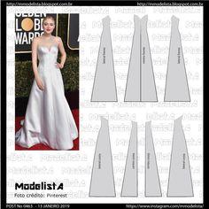Dakota Fanning, Dress Patterns, Sewing Patterns, Pattern Dress, Modelista, Pattern Blocks, Fashion Sketches, Pattern Fashion, Homecoming Dresses