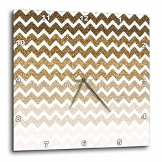 3dRose Gold Ombre Chevron image of Glitter, Wall Clock, 13 by 13-inch