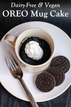 Dairy-Free Oreo Mug Cake Recipe - Just 3 Ingredients and 5 Minutes or Less! Naturally vegan, egg-free, and nut-free. Even kids can make it!
