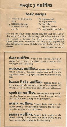Magic 7 Muffins, from a Parade magazine (Sunday paper insert).