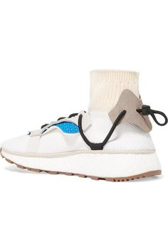 Adidas Originals By Alexander Wang - Leather, Suede And Ribbed Knit-trimmed Mesh Sneakers - White - UK