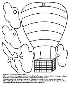 Hot air balloon template printable for DIY craft 3d card
