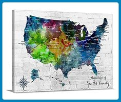 Custom world map canvas print world map push pin travel map wall watercolor us map push pin wall art canvas print personalized usa map adventures wall art gumiabroncs Images