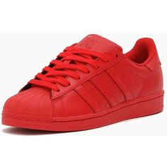 red adidas Originals Superstar X Pharrell Williams Super Colour Blvck... ($160) ❤ liked on Polyvore featuring shoes, adidas, sneakers, adidas originals, red leather shoes, real leather shoes, leather shoes and genuine leather shoes