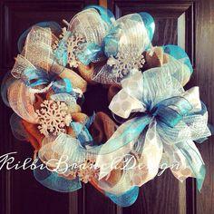 Winter wonderland burlap wreath // Burlap wreath // Silver // Blue  // White // Snowflake wreath on Etsy, $80.00