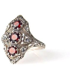 Edwardian Inspired Sterling Silver Filigree Ring Garnets ($100) ❤ liked on Polyvore featuring jewelry, rings, vintage sterling silver rings, antique sterling silver rings, garnet rings, vintage edwardian rings and sterling silver garnet ring