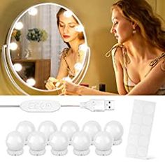 Vanity Lights,10 Dimmable Hollywood Style Led Makeup Light Bulbs,3 Color Modes Lighting Fixture Strip for Makeup Vanity… Lighted Wall Mirror, Mirror With Led Lights, Led Mirror, Wall Mirrors, Led Makeup Light, Led Makeup Mirror, Makeup Table Vanity, Hollywood Style, Vanity Lighting